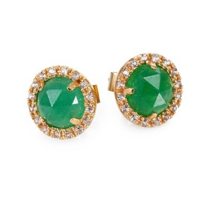 Mija Jewelry Green Jade And White Sapphire Mini Button Earrings