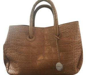 Furla Casual Chic Leather Faux Croc Tote in Camel