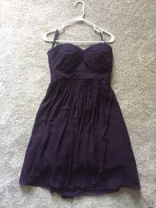 Bill Levkoff Dark Purple / Plum Chiffon Short Formal Bridesmaid/Mob Dress Size 6 (S)