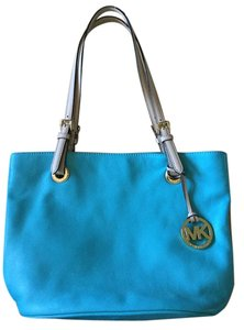 Michael Kors Gold Hardware Leather Tote in Teal