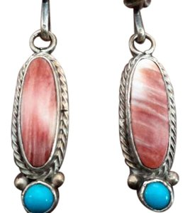 Navajo spiny oyster, turquoise and sterling earrings