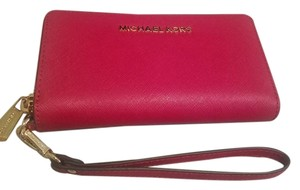 Michael Kors Leather Safiano Phone Wristlet in Red