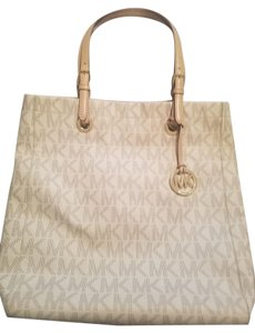 Michael Kors Monogram Gold Leather Travel Tote in Vanilla