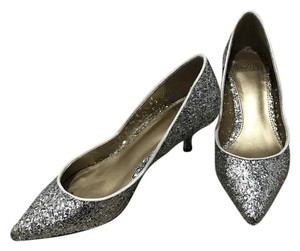 Badgley Mischka Glitter Silver Pumps