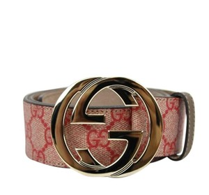 Gucci Gucci Belt Interlocking G Buckle 114876 Red Supreme Canvas/8374 95/38