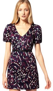 French Connection short dress Purple Leopard Tight V-neck on Tradesy