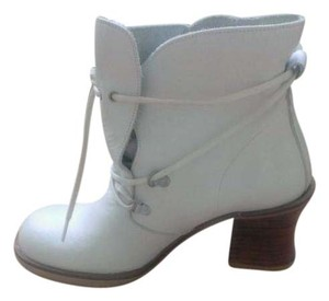 Pura Lopez Ankle Leather Made In Spain white Boots