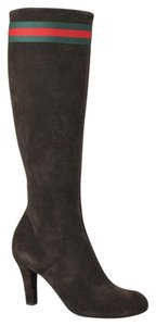 Gucci Suede Heel Knee Brown Boots