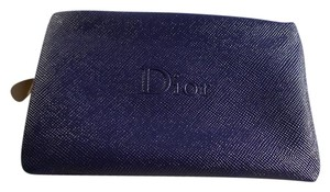 Dior DIOR Navy Faux Leather Makeup Cosmetic Bag Case