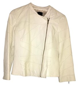 Fendi Runway Chic Modern Leather Ivory Leather Jacket