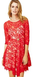 Free People short dress Red Lace Cocktail Holidays on Tradesy