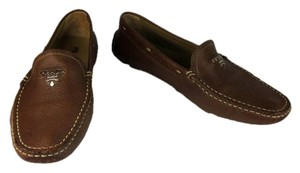Prada Leather Logo Brown Loafers Flats