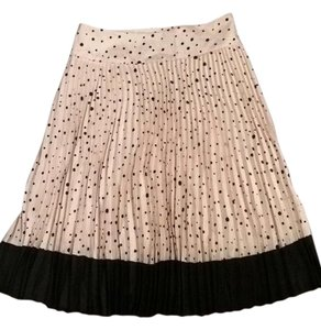Ann Taylor Accordion Pleat Polka Dot Skirt Black and White