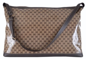 Gucci Monogram Weekender Logo Brown Travel Bag