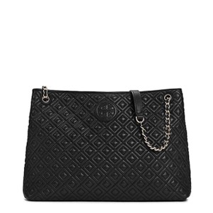 Tory Burch Quilted Marion Tote in Black