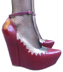 Jeffrey Campbell Maroon Wedges