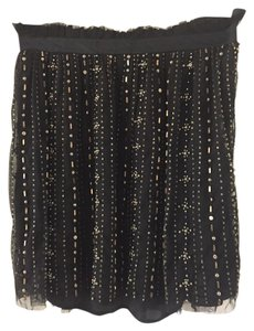 Gryphon Mini Skirt Black and metallic beaded