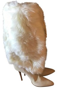 Helmut Lang Fur Suede Winter White Boots