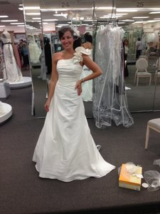 David's Bridal Ivory Taffeta A-line Gown with One Shoulder Detail Traditional Wedding Dress Size 6 (S)