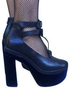 Opening Ceremony Black leather/navy velvet Platforms
