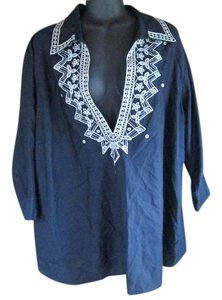 Talbots Plus-size Silk Embroidered Top Navy Blue