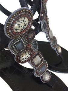 Sigerson Morrison Beaded Boho Brown Sandals
