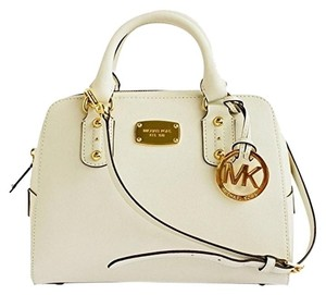 Michael Kors Gold Logo Satchel in Off white