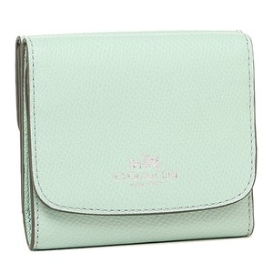 Coach Small Trifold Wallet in Crossgrain Leather Seaglass Green