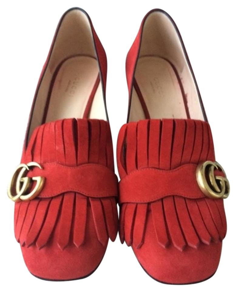 cc313293c Gucci Red Marmont Fringe Suede 55mm Loafer Pumps Size US 8.5 - Tradesy