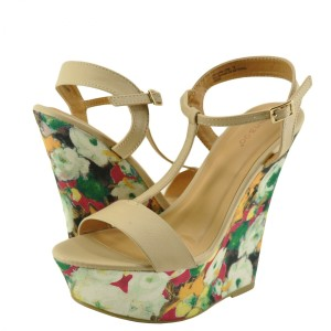 Bamboo Platform Emerald Sandals Green Nude Wedges