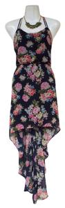 navy, blue, pink, red, green Maxi Dress by Forever 21 High Low Flowy Floral