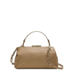 Kate Spade Leather Gold Hardware Chain Convertible Ostrich-embossed Satchel in Beige