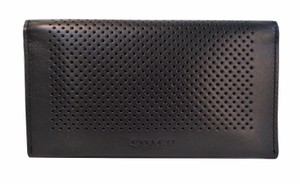 Coach Coach Black Perforated Leather Universal iPhone Case Wallet NWT F65204