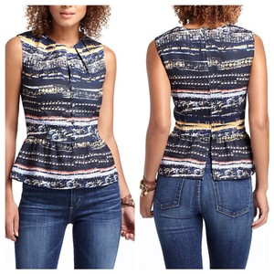 Anthropologie Top black, blue, white