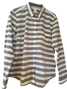Gap Fun Stripey Basic Button Down Shirt white-grey stripe