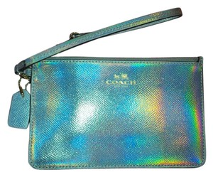 Coach 65517 New w/Defects Silver Hologram Wristlet Wallet --Hard to Find!
