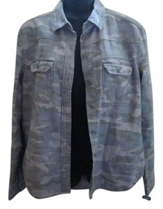 Urban Outfitters Camouflage Denim Faded Khaki Womens Jean Jacket