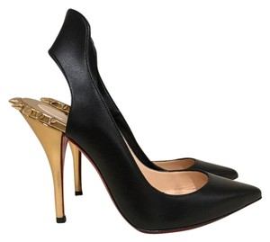 Christian Louboutin Survivita Stiletto Gold Spike black Pumps
