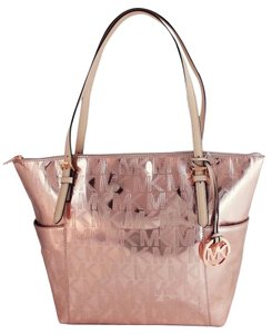 Michael Kors Jet Set Top Zip Tote in Rose Gold