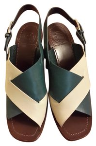 Tory Burch Leather Slingback Green, ivory Sandals