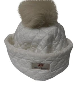 UGG Australia NEW UGG Women's Quilted Bucket Pom Pom Hat Cap One Size In white