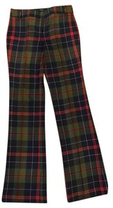 J.Crew Boot Cut Pants Plaid, black, green, red