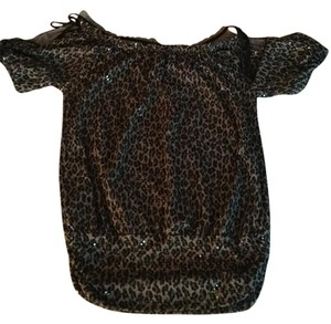 Express Animal Print Leopard Sequin Top