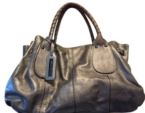Kenneth Cole Leather Satchel in SILVER METALIC