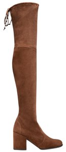 Stuart Weitzman Over The Knee Suede Walnut Boots
