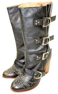 Rough Justice Leather Studded Black Boots