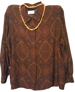 Liz Claiborne Silk Long Sleeve Hidden Buttons Damask Print New Looking Top Brown multicolor