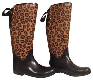 Coach New Rubber Leopard Designer Rain Black Multi Boots