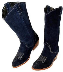 Gee WaWa Suede Cowboy Navy Boots