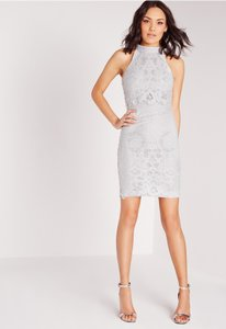 Missguided Grey Grey Double Layer Lace Dress Dress